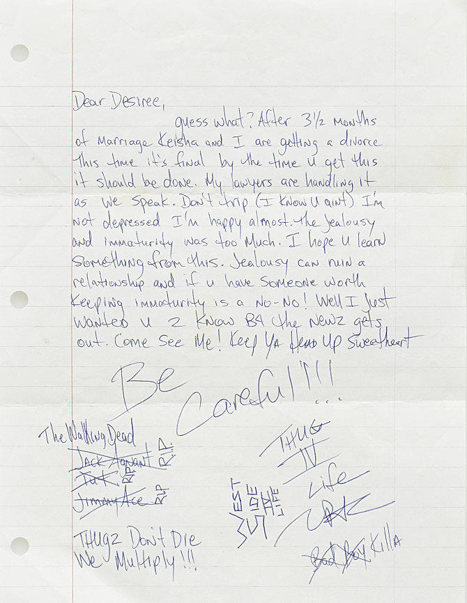 Images Credit Courtesy Of Bonhams Lot 1343 A TUPAC SHAKUR HANDWRITTEN LETTER Autograph Letter Signed 2PAC 1 P