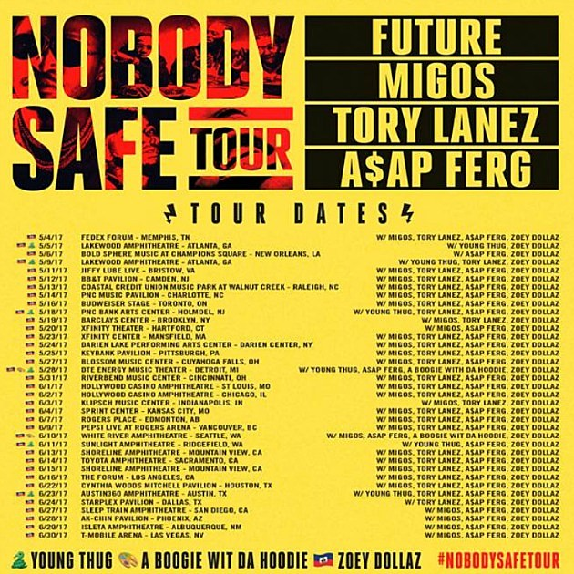 Nobody Safe Tour Song Lineup