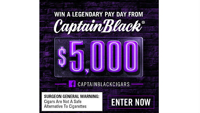 Win $5,000 Sweepstakes From Captain Black Cigars