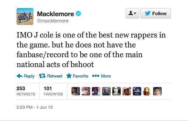 Macklemore Disses J.Cole