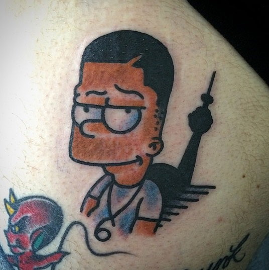 toronto artist designs drake as bart simpson tattoo xxl. Black Bedroom Furniture Sets. Home Design Ideas